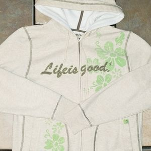 Life is Good Full Zip Hoodie size small